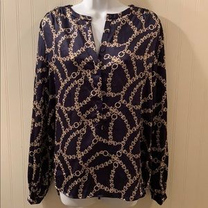 Joe Fresh Navy Blouse Gold Pattern NWT Sz Med